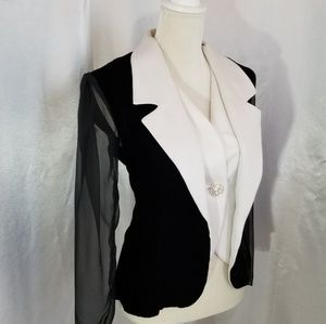 Vintage 80s Dramatic Tuxedo Style Evening Jacket